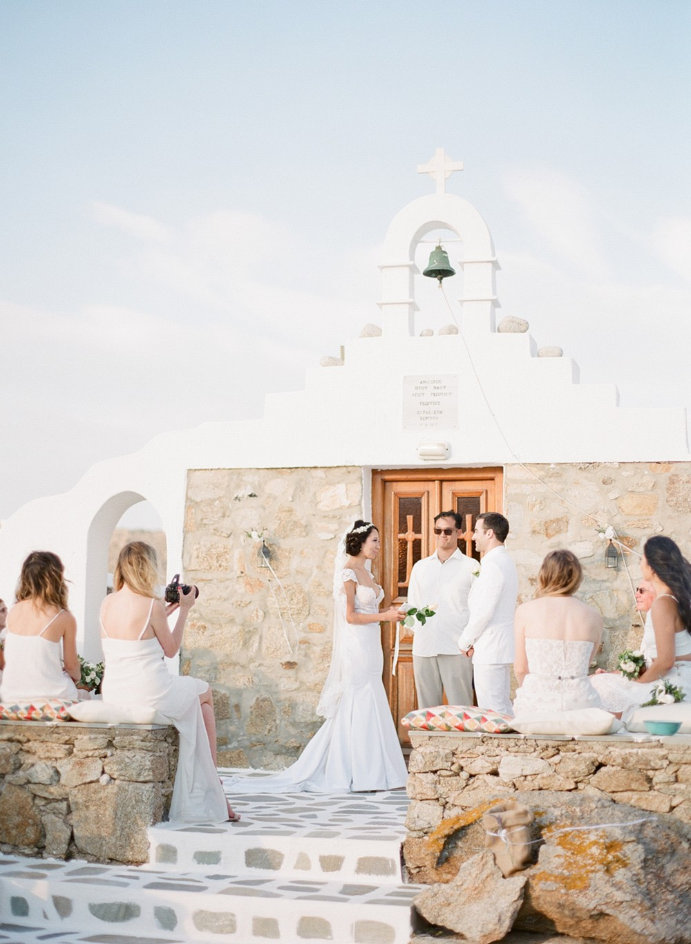 Intimate modern bohemian Mykonos wedding