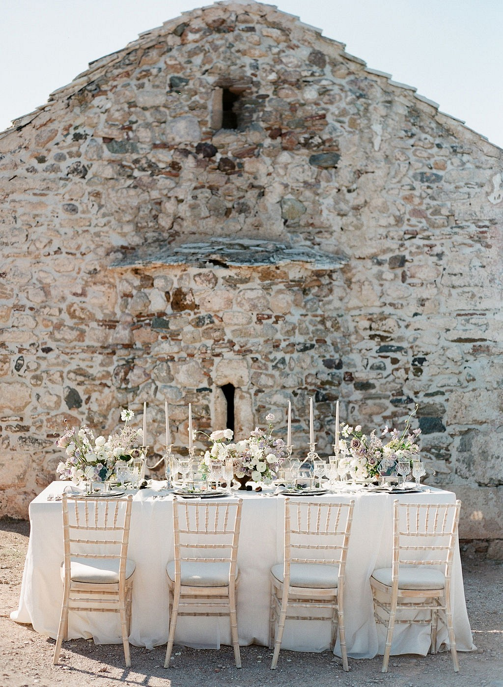 Outdoor Neutral Wedding Ideas in a Greek Church
