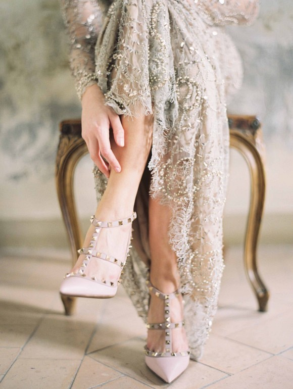 Valentino rockstud heels | Elegant Destination Real Wedding in Rome Italy by Erich McVey on Wedding Sparrow