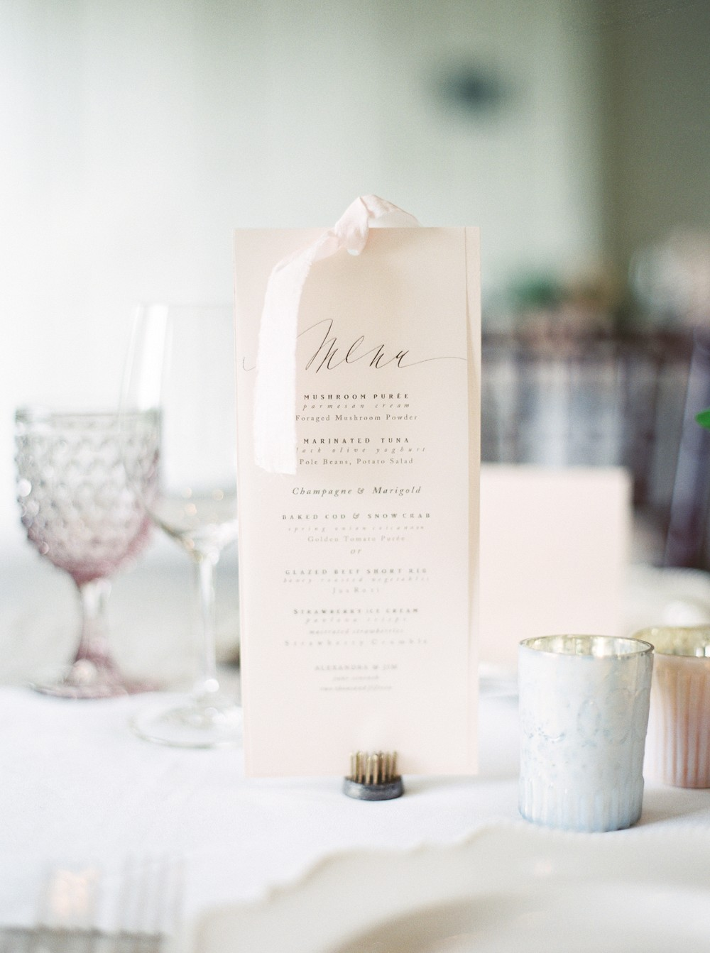 Dinner menu | Sophisticated Real Wedding in Ontario by When He Found Her on Wedding Sparrow