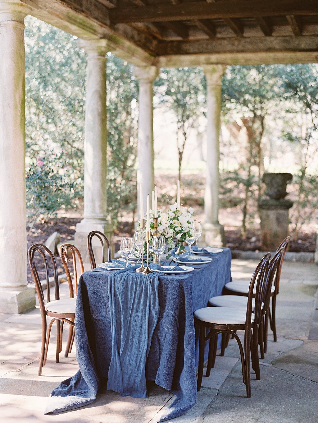 Deep Blue Elegant Manor Wedding Style
