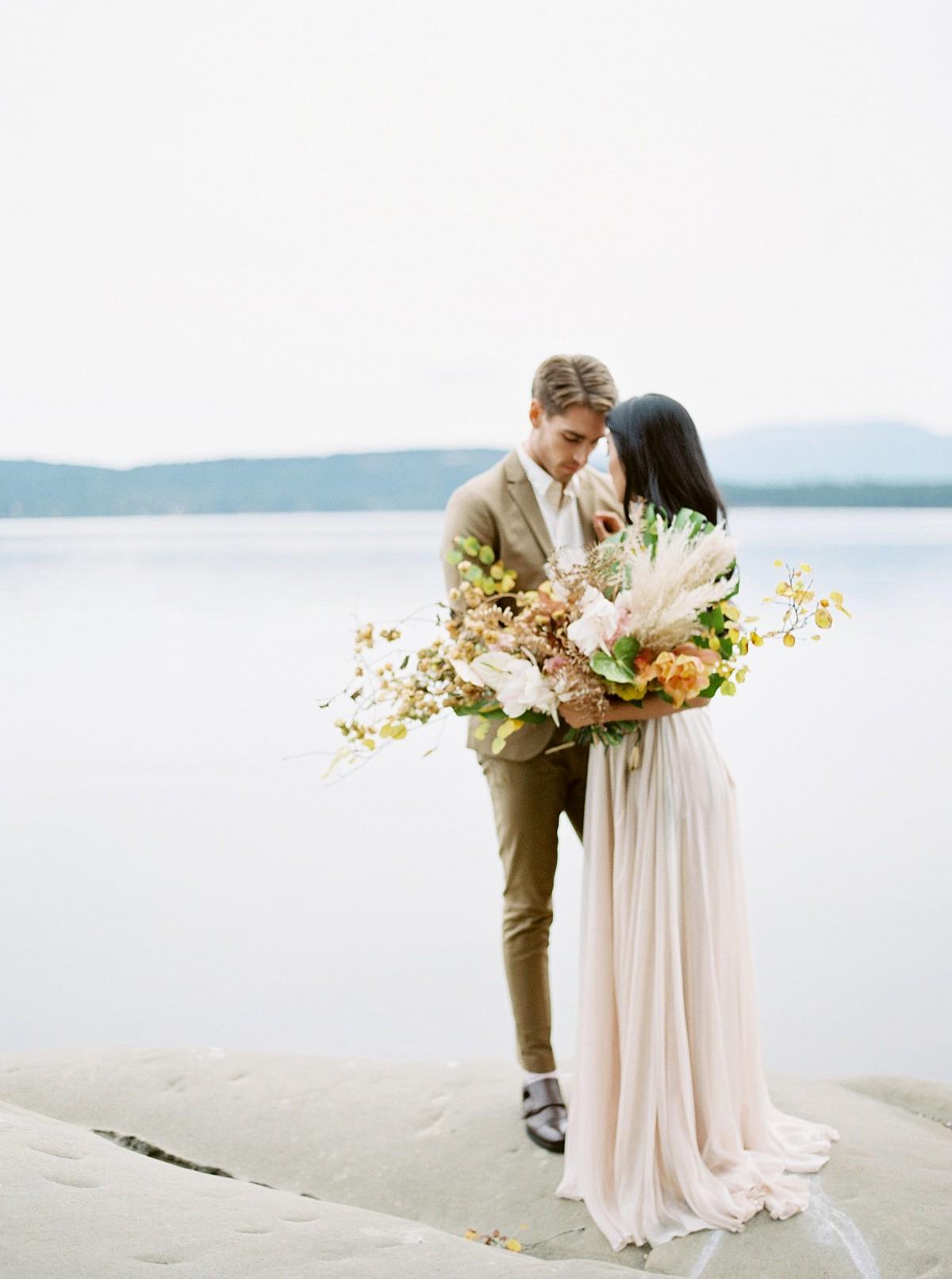 Textured neutral wedding inspiration on Galiano Island
