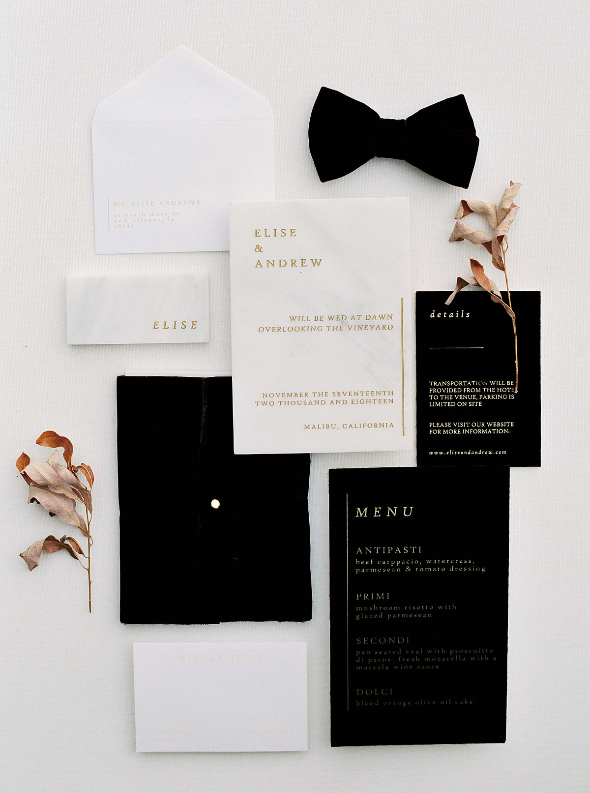 Contemporary Black Tie Wedding Inspiration at Malibu Rocky Oaks
