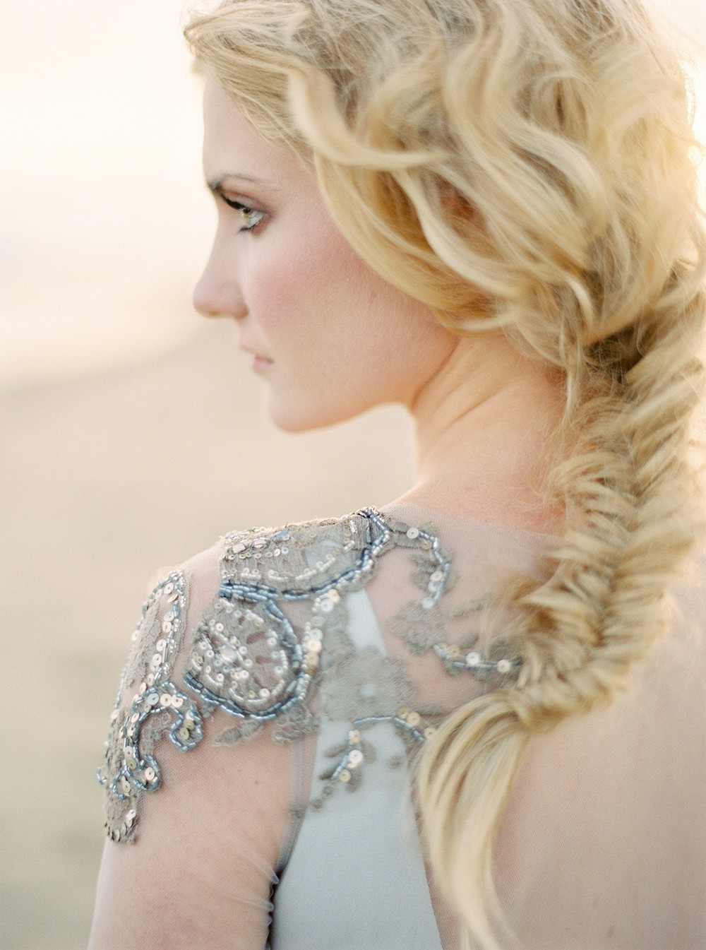 Coastal Wedding in an Embellished Gown