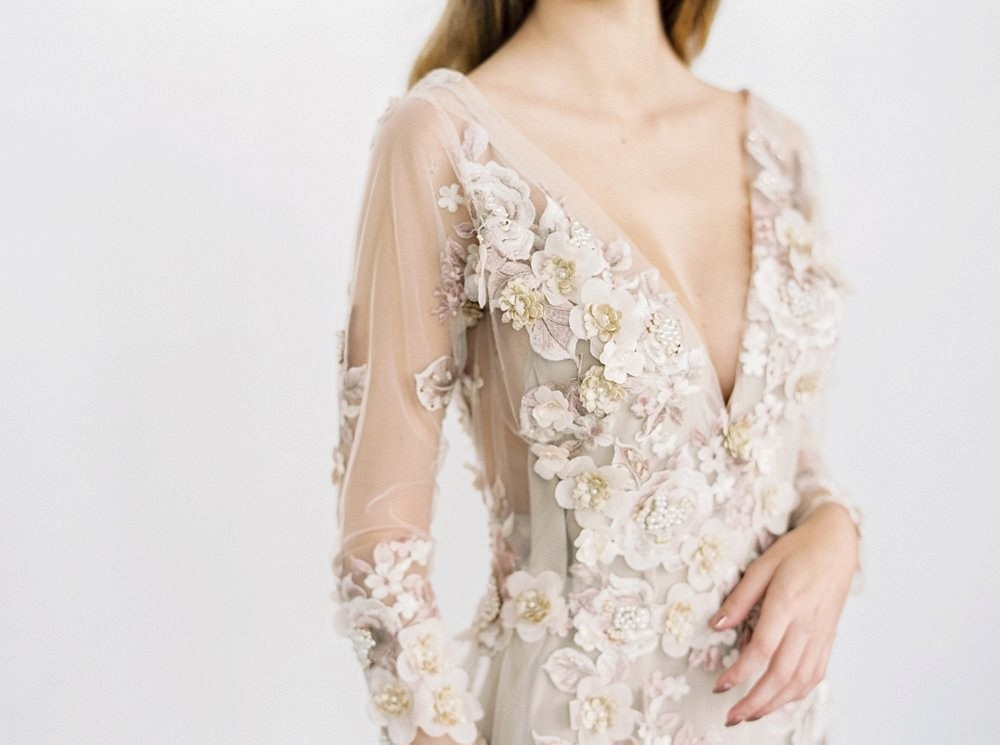 Handmade Wedding Gowns with Floral Appliqué by Gossamer