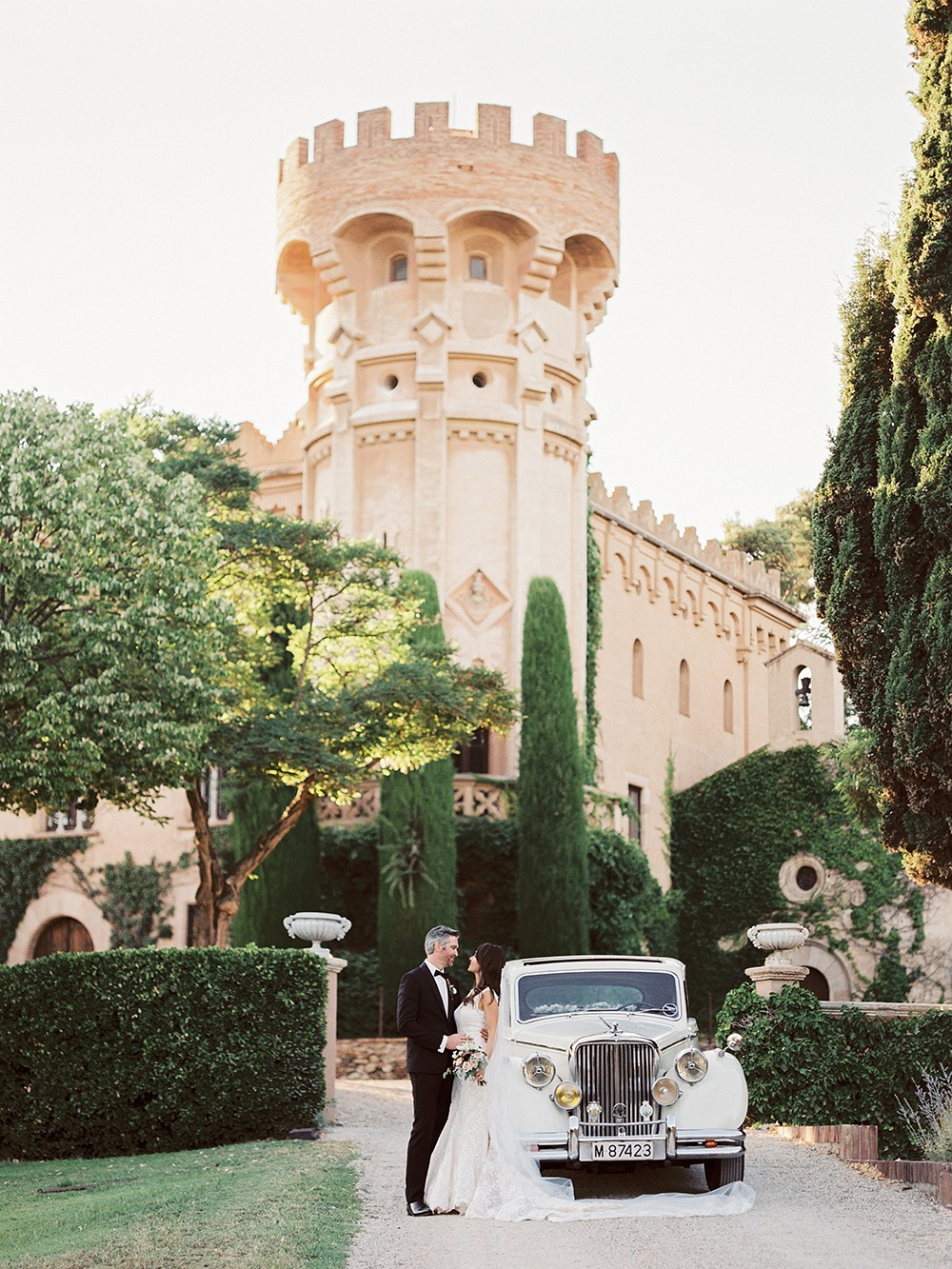 Romantic Monochromatic Real Wedding in Barcelona