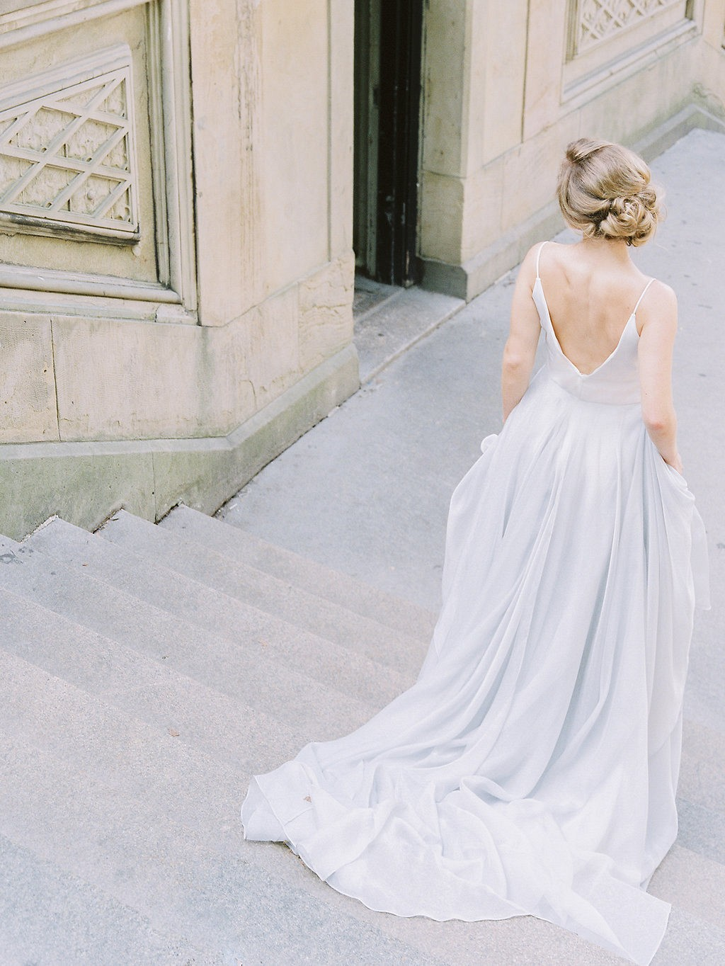 Central Park Elopement in a Pale Blue Wedding Gown by Amelia ...