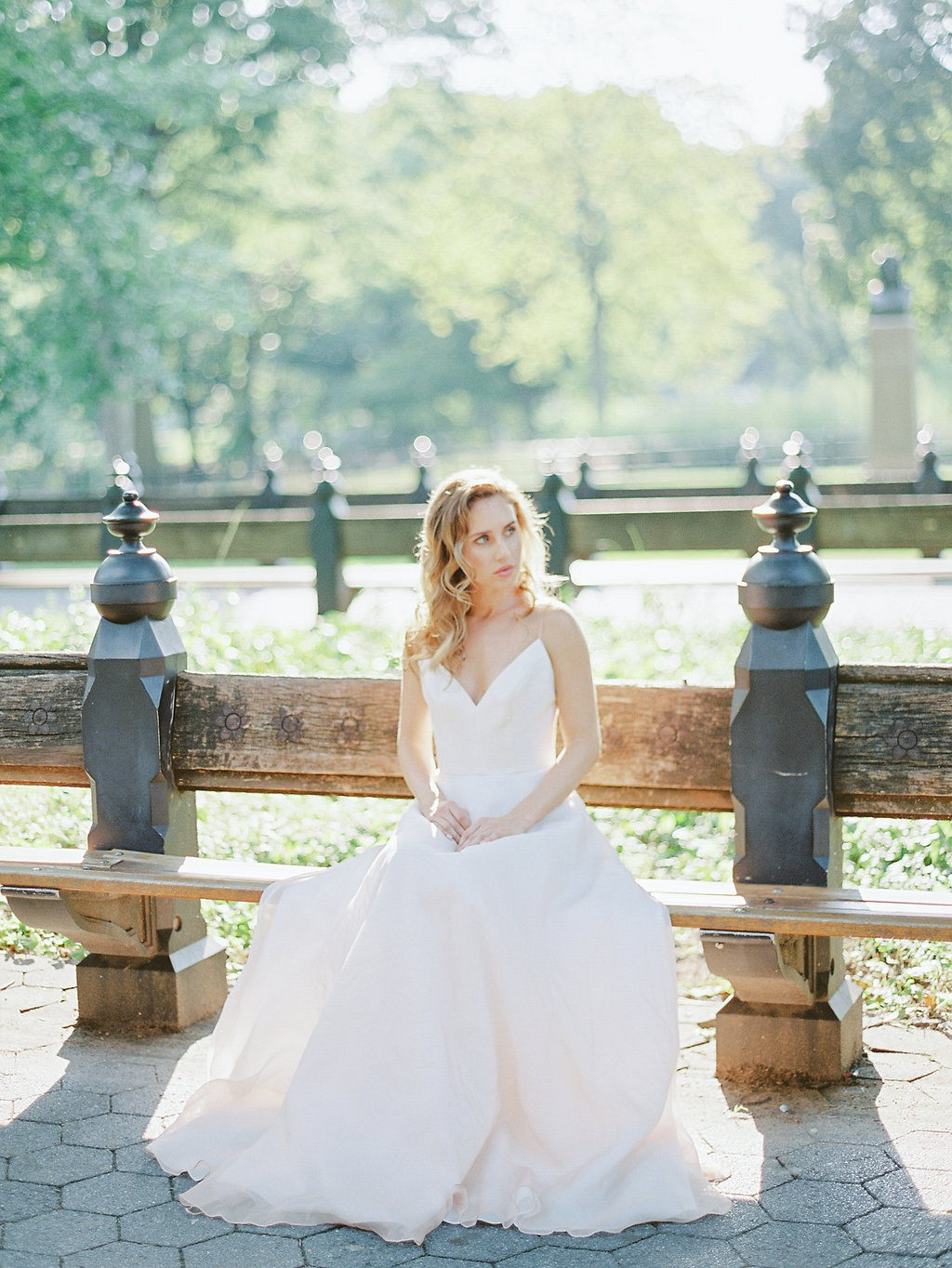 Central Park Elopement in a Pale Blue Wedding Gown