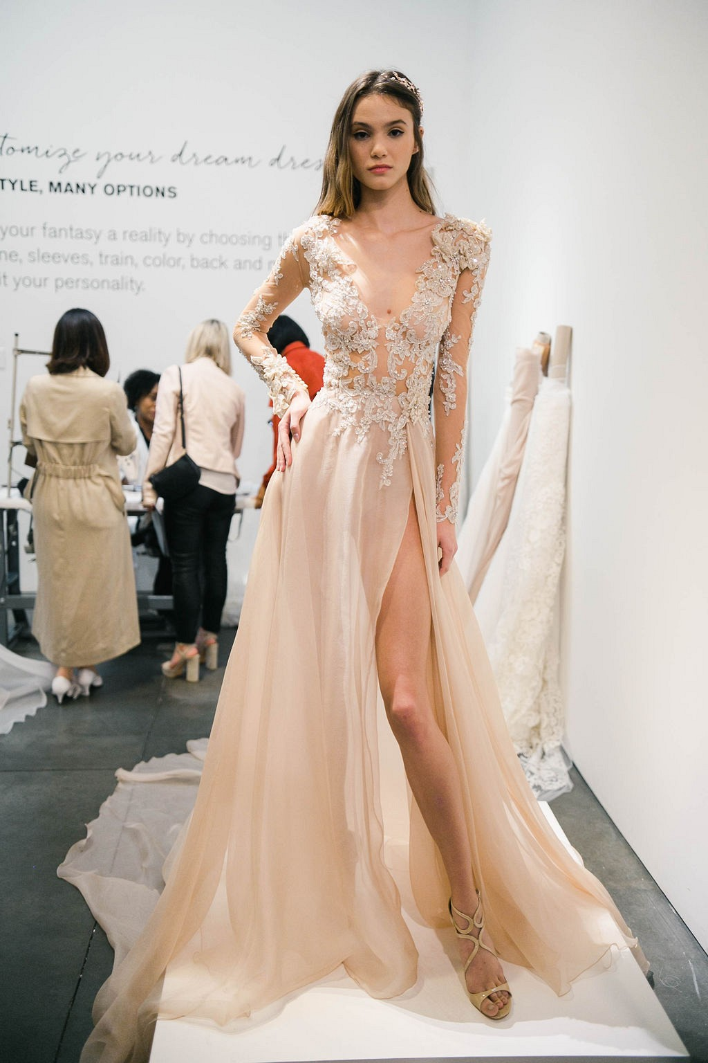 Pronovias blush pink wedding dress