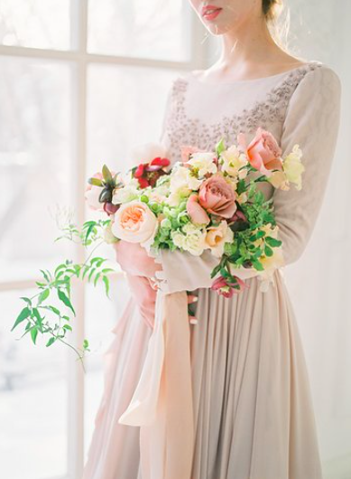 Simple Indoor Bridal Session in Blue and Blush Tones