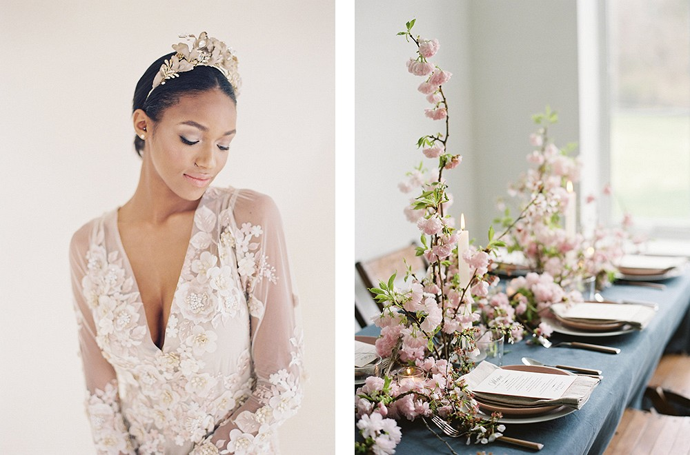 Angelic Cherry Blossom Spring Bridal Style by Angela Newton Roy | Wedding Sparrow fine art wedding blog