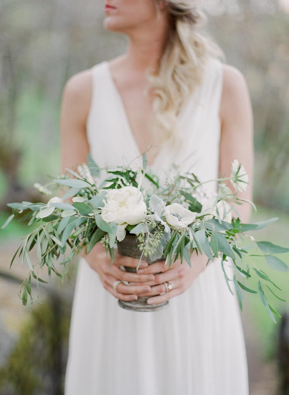 White and Green Classic Elopement