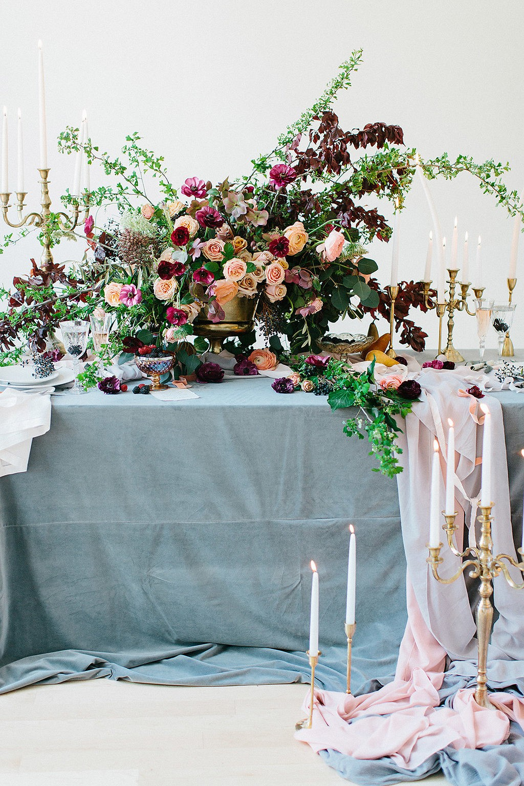 Steel blue and burgundy indoor wedding color palette