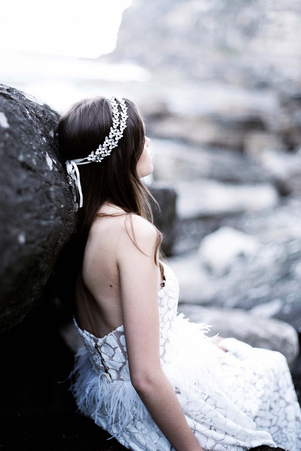 Moody Seaside Bridal Session