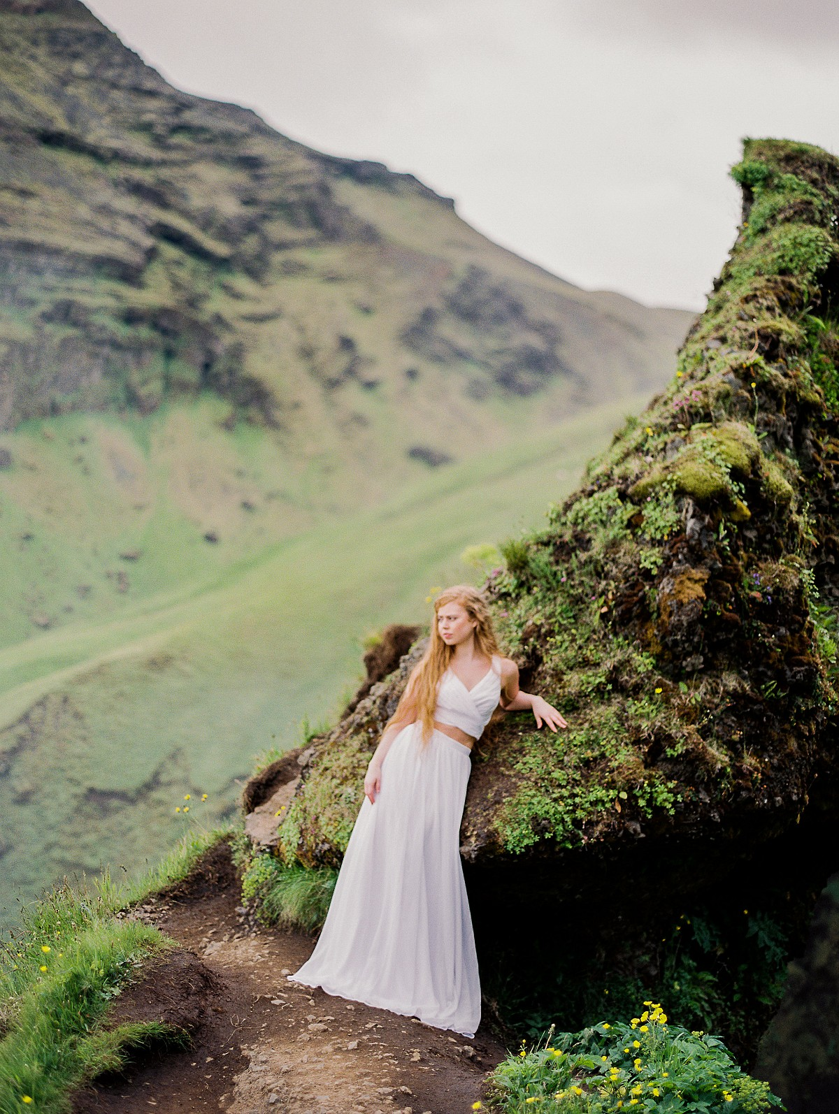 Bridal Session in rugged Icelandic Terrain by CJK Visuals on Wedding Sparrow | Iceland photoshoot