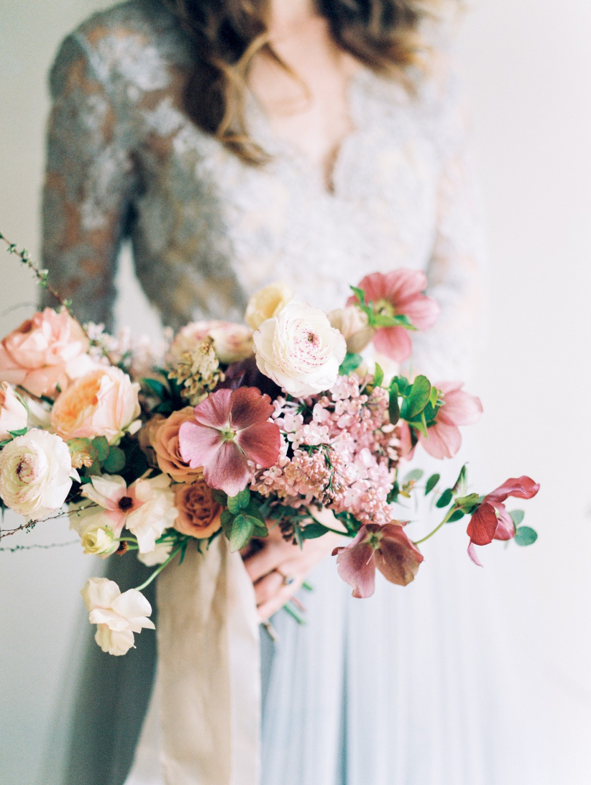 Spring Bouquet with Ranunculus, Hellebore, and Lilac