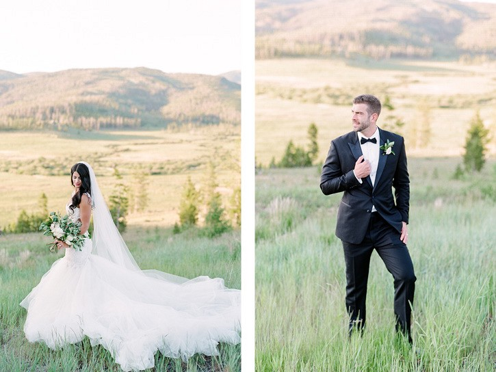 Chic Ranch Wedding with Mountain Views and Galia Lahav dress
