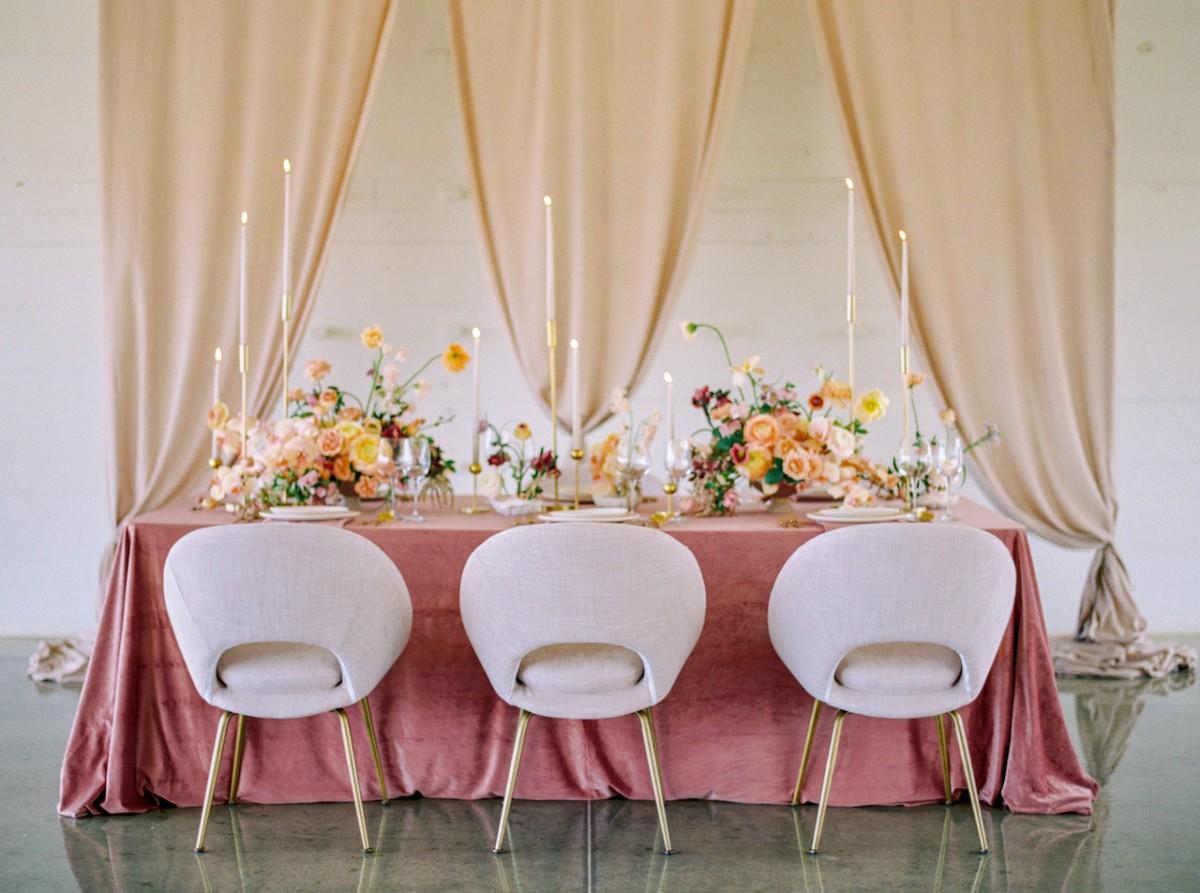 Blush, mauve, velvet and white wedding palette inspiration