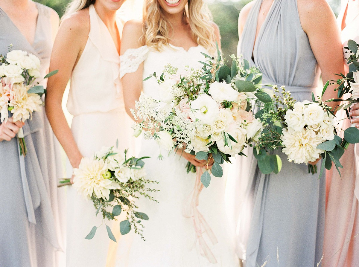 Real Texas Weddings: Neutral Mismatched Bridesmaids In Real Texas Wedding By