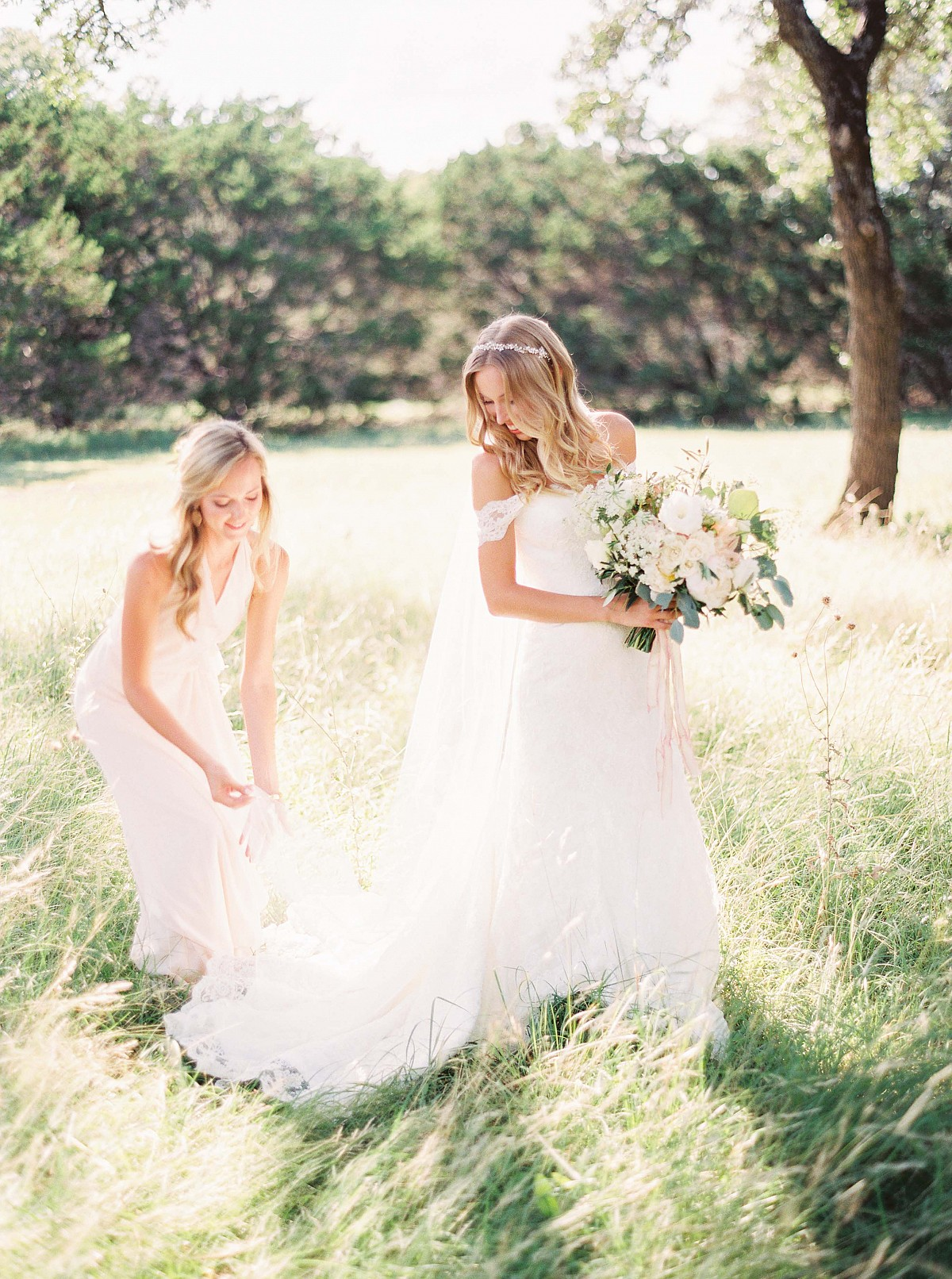 Neutral Mismatched Bridesmaids in Real Texas Wedding