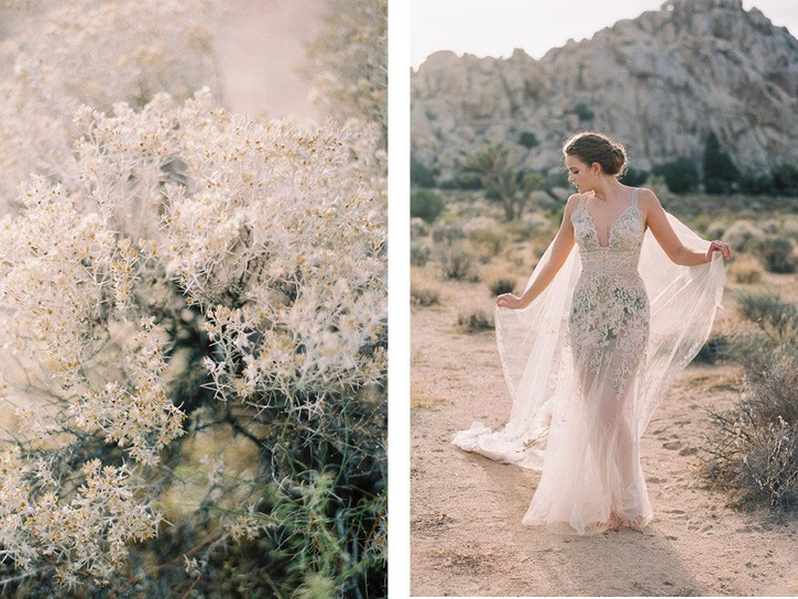 Claire Pettibone Dress with Floral Cape in Joshua Tree