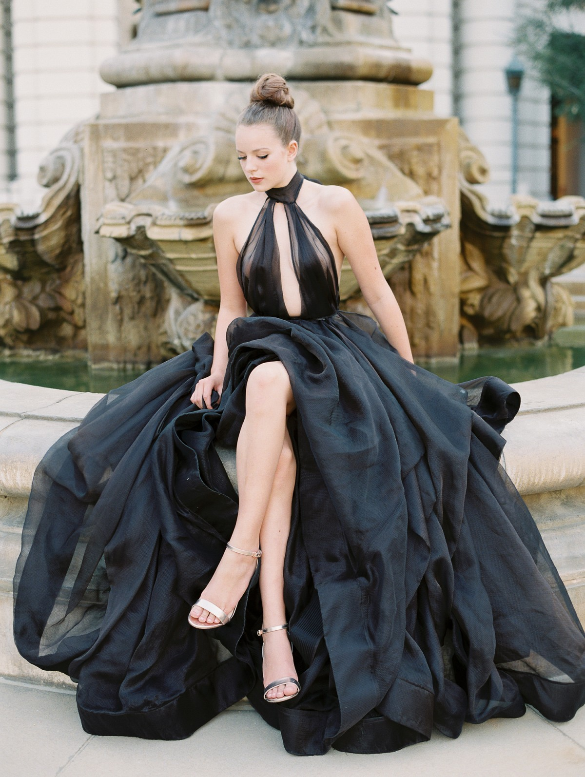 An Opulent Black Gown Exuding Elegance for a Halloween Wedding