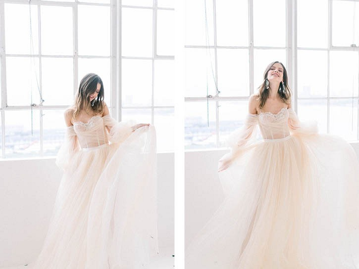 Galia Lahav wedding dress blush