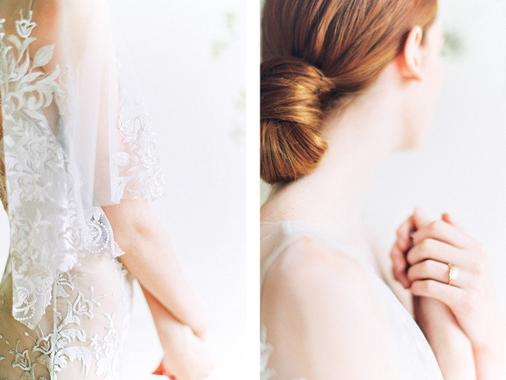 Neutral and warm tone wedding inspiration with Auburn bridal hair