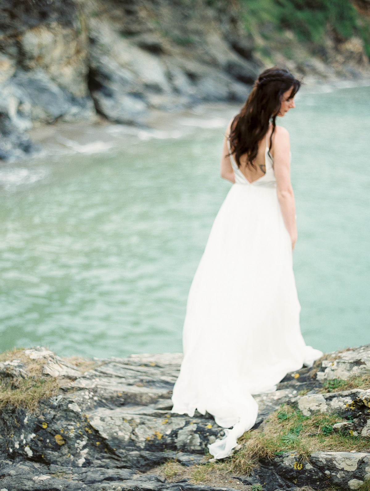 Bridal Session on the Rugged Coastline of Cornwall