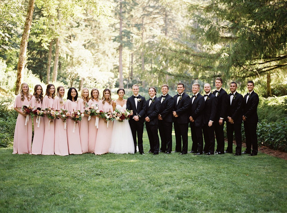 Outdoor Oregon Wedding with Blush Bridesmaids