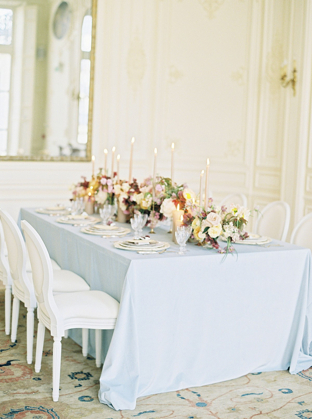 Faint blue, burgundy, and gold fall wedding inspiration in Paris