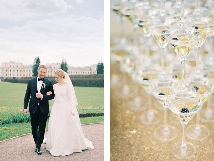 Regal style wedding with classic wedding dress