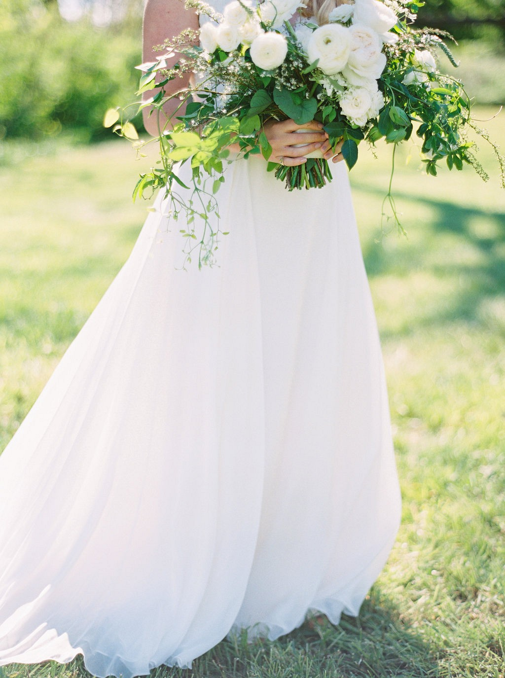 Stanley Korshak gown | Heartfelt and Nostalgic Indiana Barn Wedding by Renee Lemaire | Wedding Sparrow fine art wedding blog