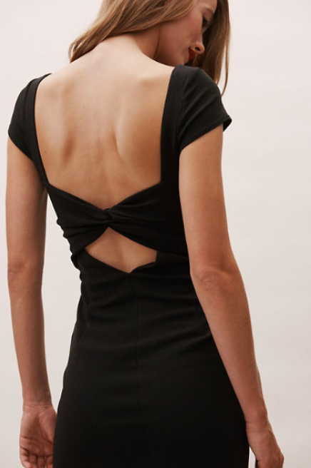 Bow back bridesmaid dress in black