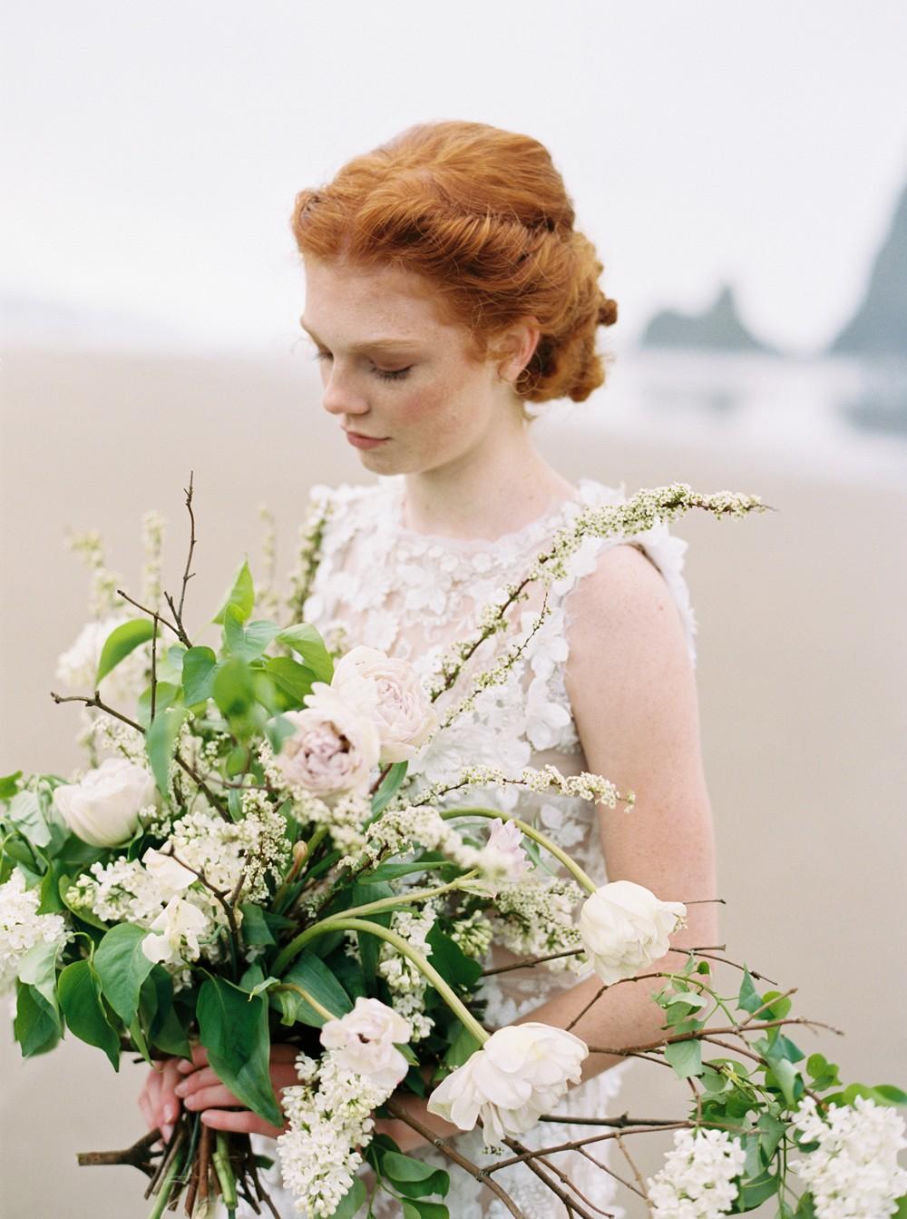 Foggy Morning Bridal Portraits on Cannon Beach