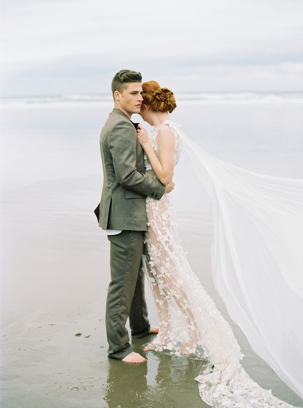 Foggy Morning Bridal Portraits on Cannon Beach