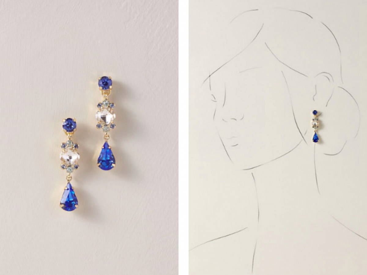 blue bridal earrings