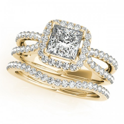 Square Halo stackable engagement rings