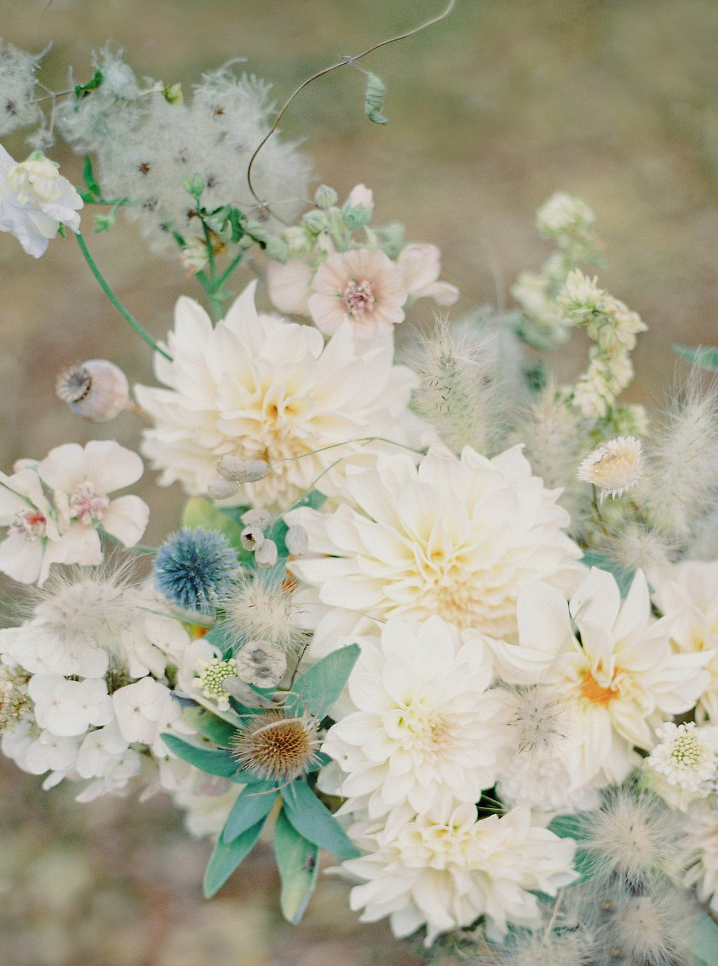 Stunning Neutral Fall Wedding Inspiration with a Dahlia Bouquet