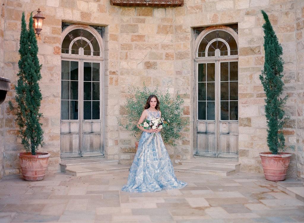 Non-traditional Wedding Gown In Blue By Shannon Von Escher