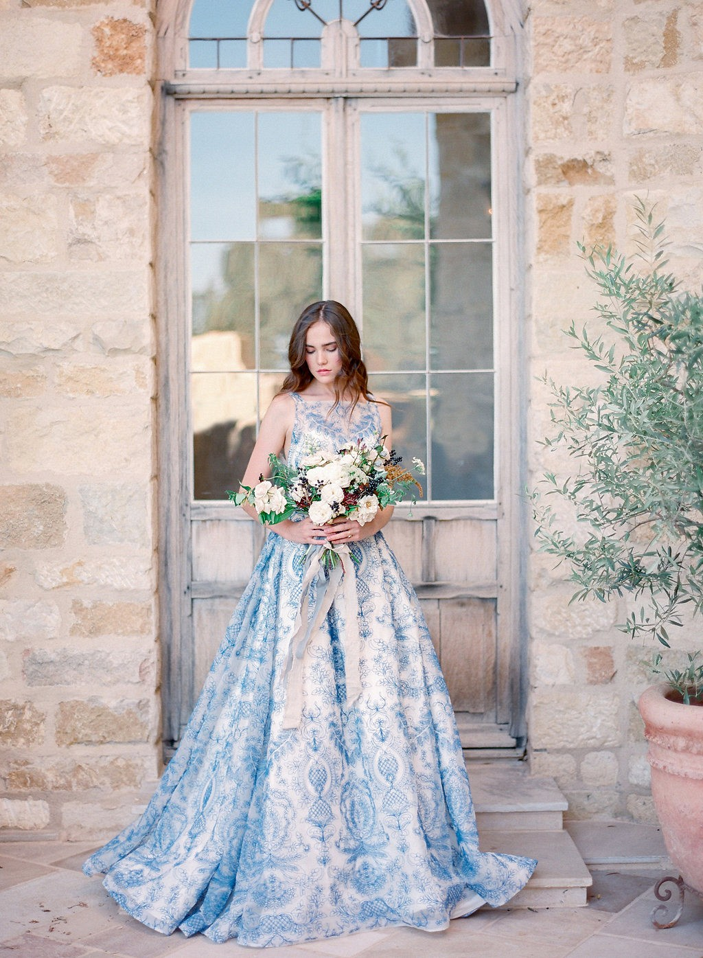 nontraditional wedding gown in blue by shannon von escher