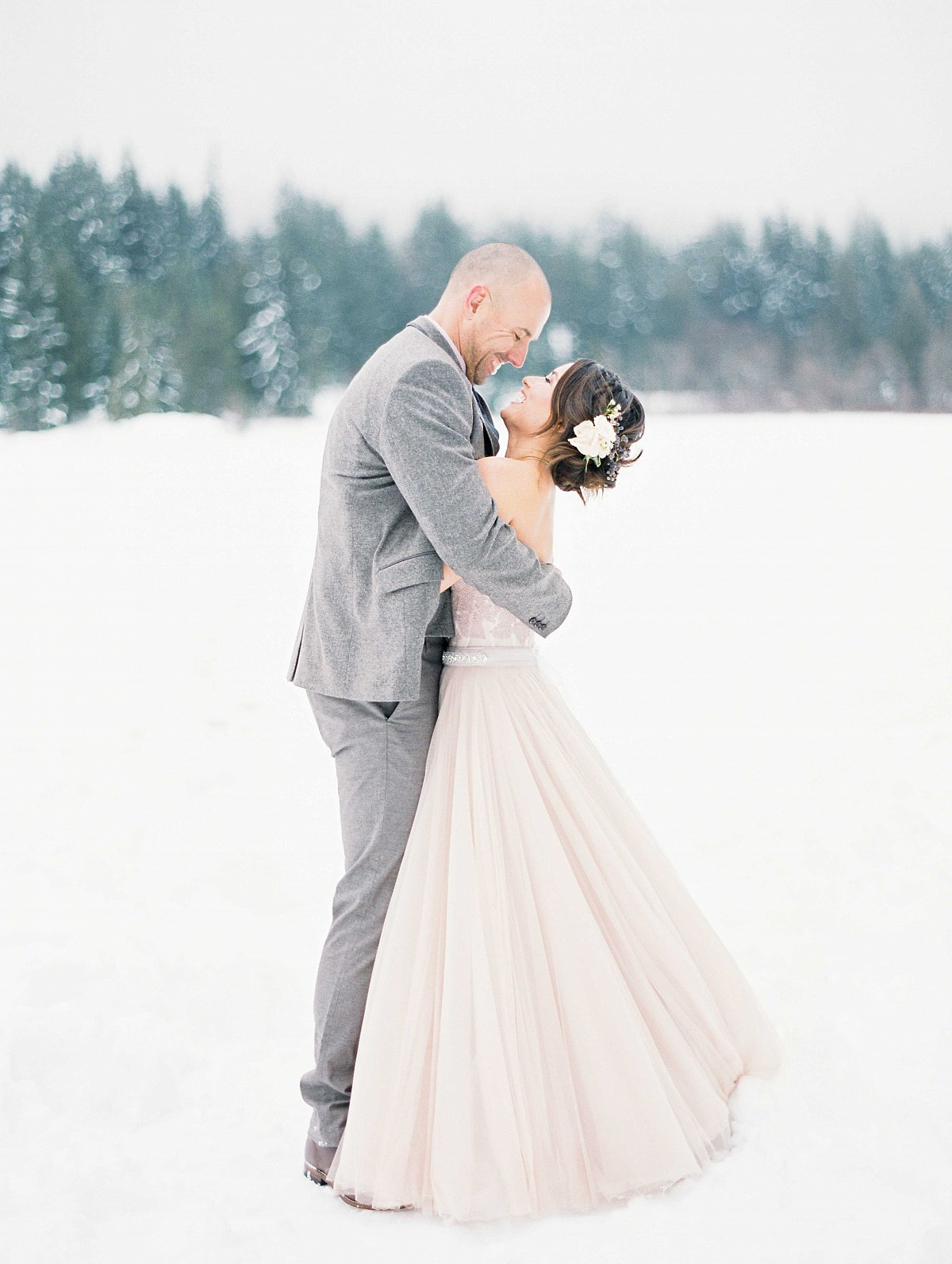 Winter Elopement in a BHLDN Gown