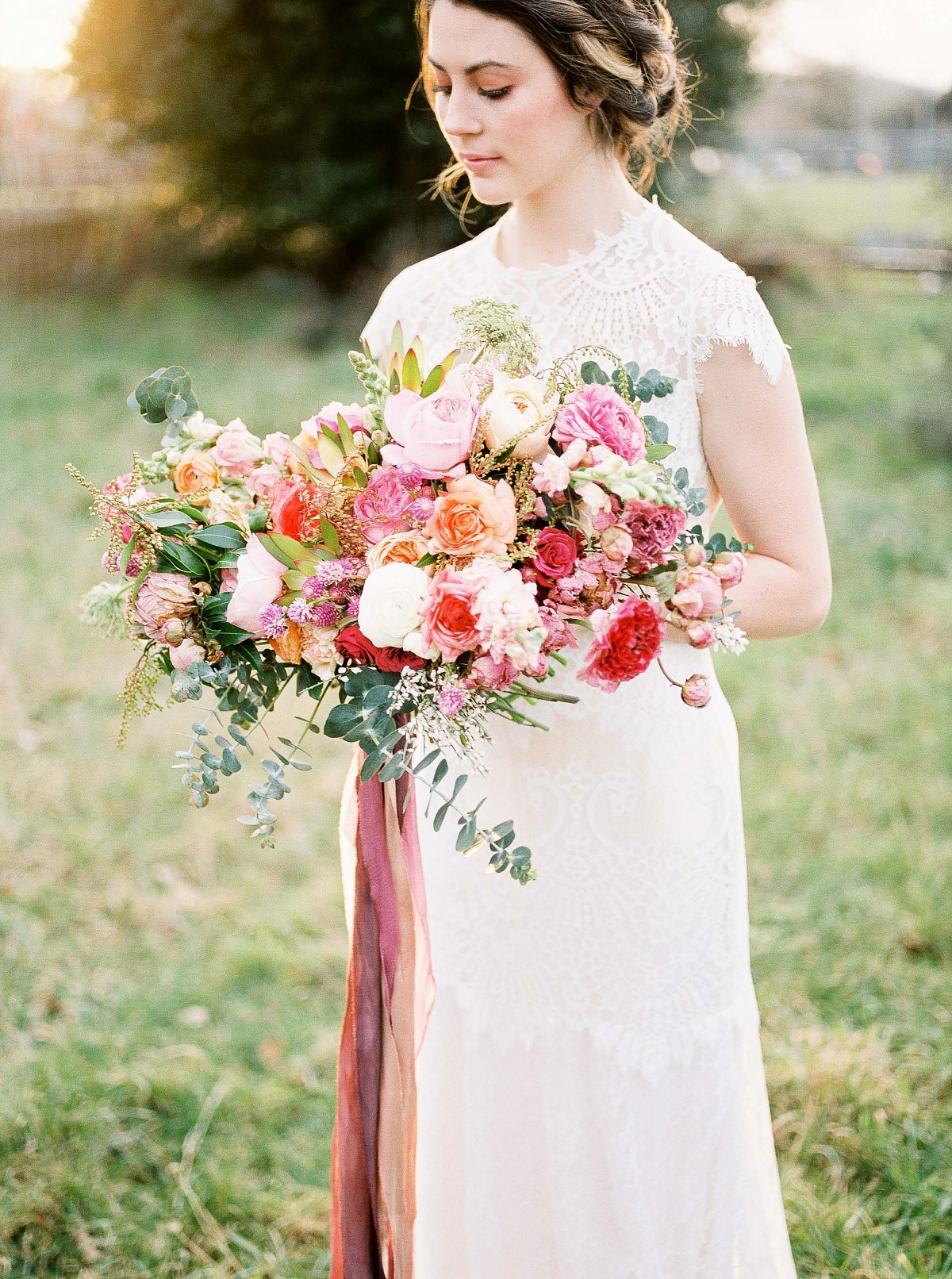 Blush and Raspberry Bridal Bouquet