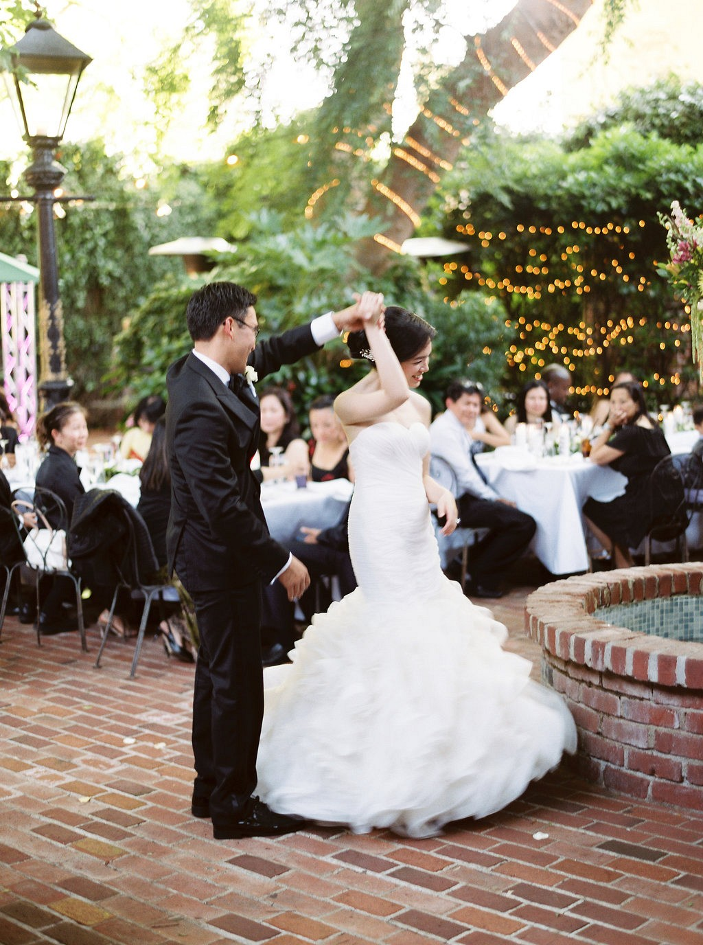 Yolanda and George's Garden Wedding with Eucalyptus Gardland