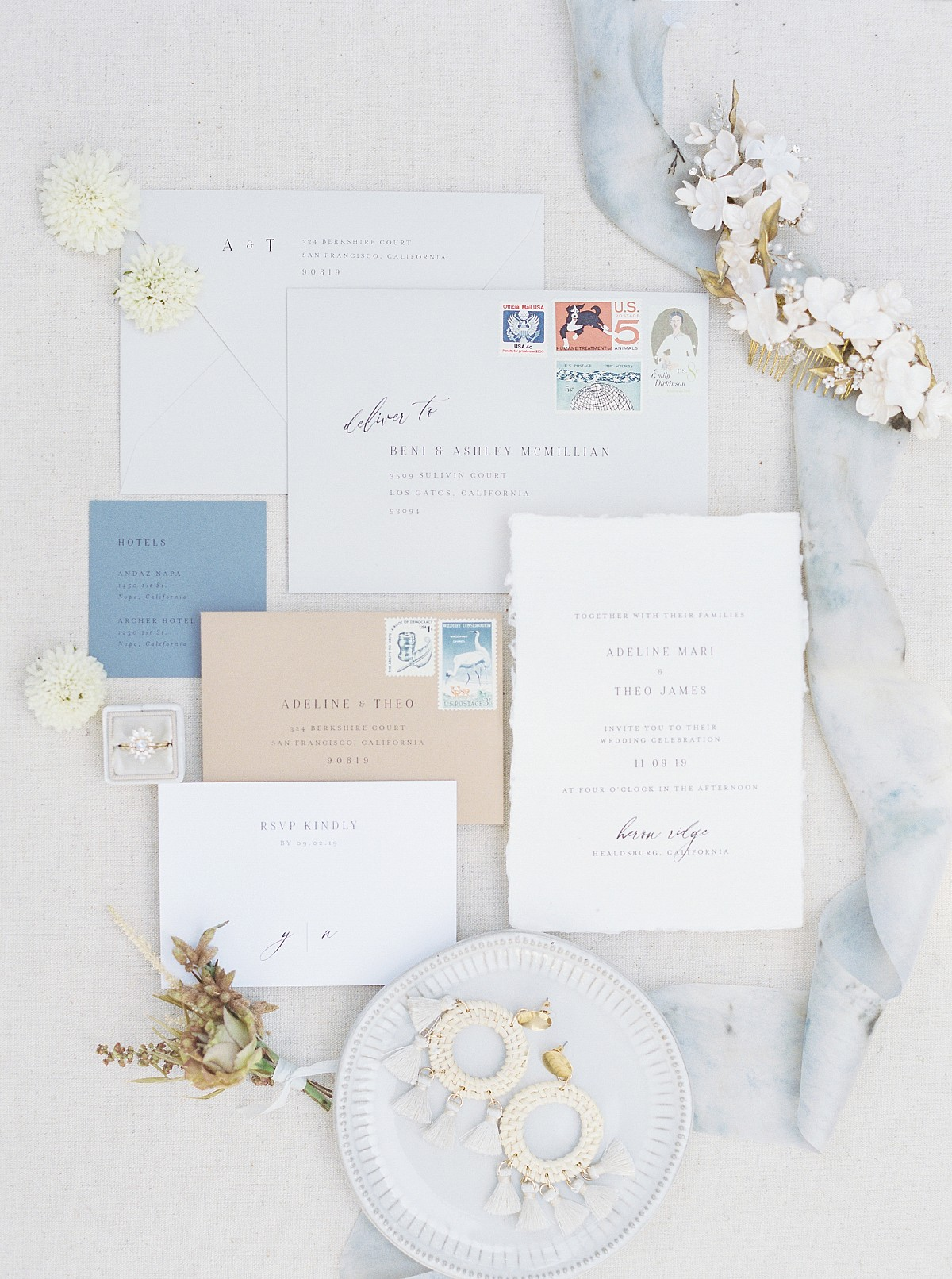 Vineyard Wedding in Mustard and French Blue