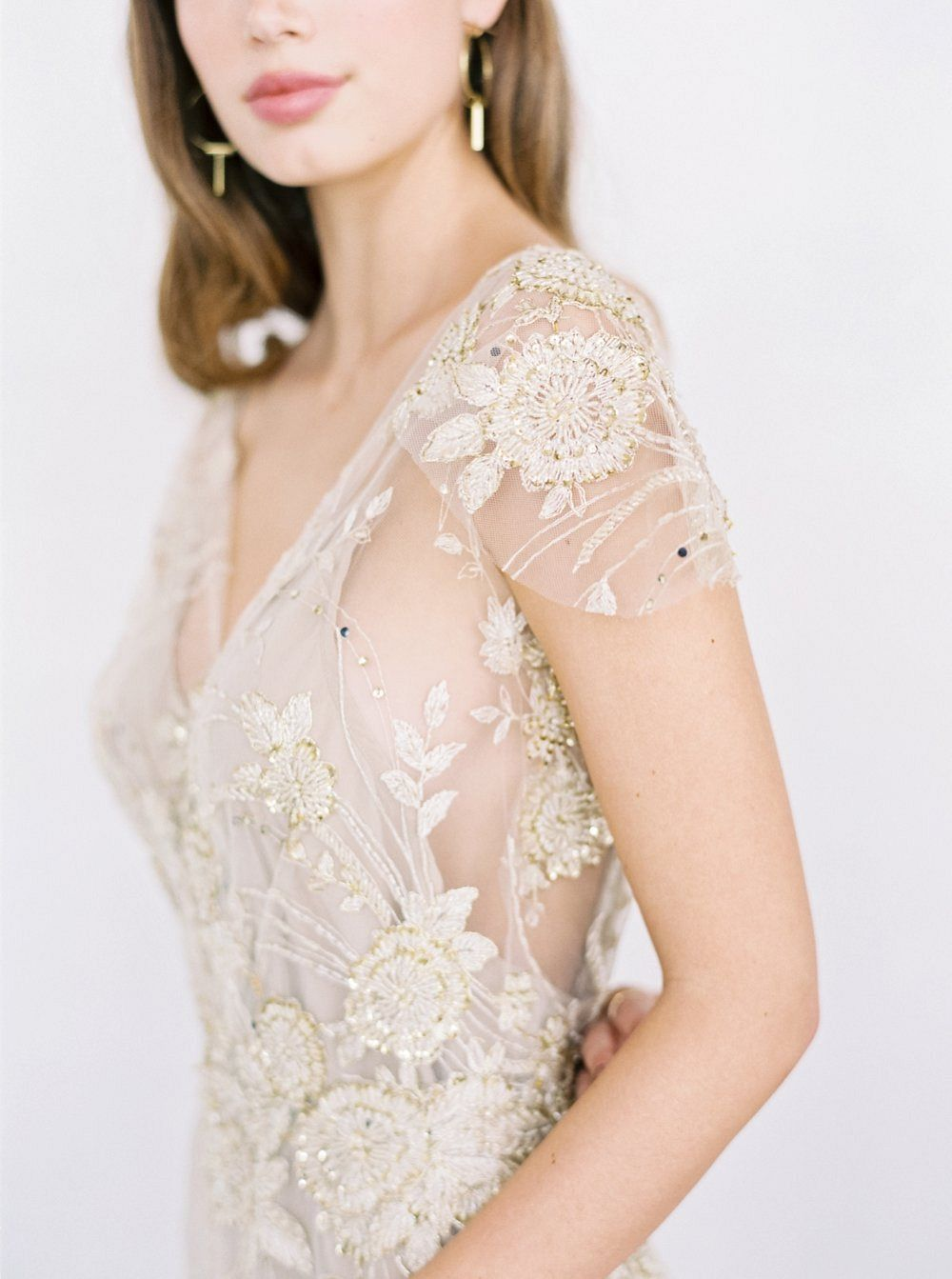 Handmade Wedding Gowns with Floral Appliqué by Gossamer by Jen Jar ...