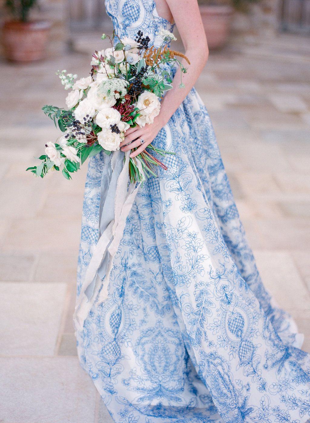 Non-traditional wedding gown in Blue by Shannon Von Escher ...