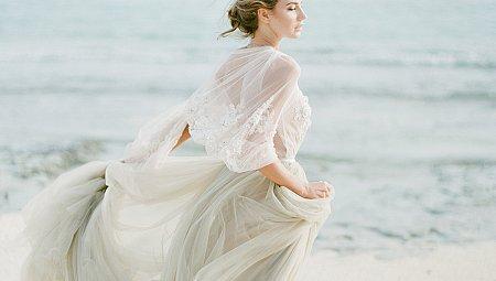 Coastal Wedding Style with Gray Wedding Dress