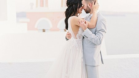 Santorini Elopement in Muted Tones