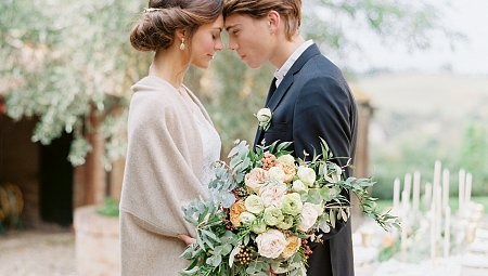 Tuscany Elopement with Eucalyptus and Peonies